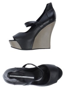 Camilla Skovgaard Leather Edgy Wedge Peep Toe Black Wedges