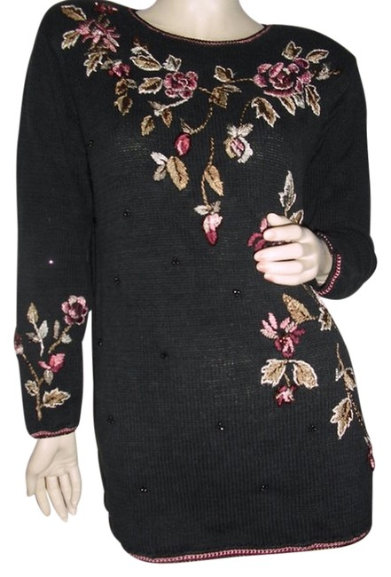 Item - Black W L Int'l Sweater Metallic Gold Floral Embroidery @ Fashionista Style Boutique Tunic Size 6 (S)