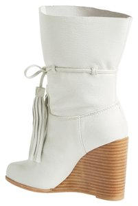 """Jeffrey Campbell 4"""" Heel (Size 8) - Shaft - Pull-on Style With Tie Closure - Leather Upper And Lining White Boots"""