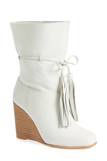 "Jeffrey Campbell 4"" Heel (Size 8) - Shaft - Pull-on Style With Tie Closure - Leather Upper And Lining White Boots"