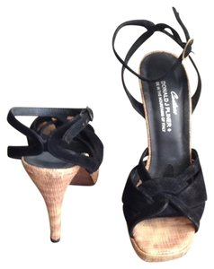 Donald J. Pliner Black With Bamboo Print Heel Sandals