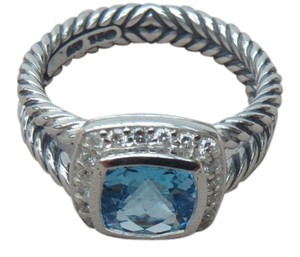 David Yurman NEW DAVID YURMAN size 8 New With Pouch Albion Petite Ring Blue Topaz With Pave Diamonds