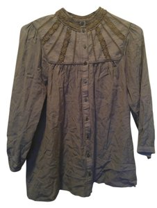 H&M String Lace Button Up Cut Out Button Down Shirt Olive Green