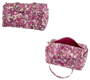 Vera Bradley Duffel Pink Gray White Travel Bag