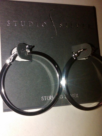 Studio Silver 30mm Knife Edge Silver Hoop Earrings