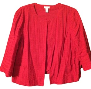 Chico's Waffle Lightweight Red Jacket