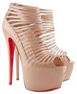 Christian Louboutin Tan Leather Textured Embellished Zoulou Peep Toe Strappy Stiletto Hidden Platform Platform Pump Ankle Cage 40 New 10 Beige, Tan, Nude Boots