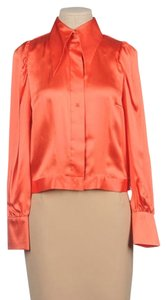 By Malene Birger Silk Designer Cuffs Top Orange