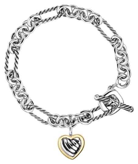 David Yurman Charm Bracelet: David Yurman Cable Heart Charm Bracelet With Gold
