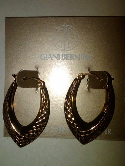 Giani Bernini Giani Bernini Marquise Daimond shaped 24k Gold hoop Earrings