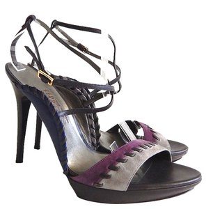 Salvatore Ferragamo Gray, Blue, Purple Sandals