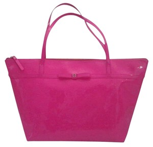 Kate Spade Patent Bow Shiny Tote in Hot Pink