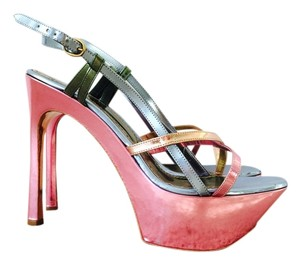 Saint Laurent Tribute Silver Mirror Strappy Wege Heels Silver, Pink Sandals
