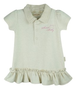 Eotton Certified Organic Cotton Shirt Dress w/ Ruffles and Bottoms- medium (6-9 months)