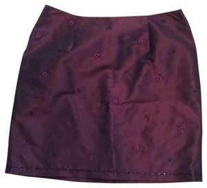 Ann Taylor Annt Taylor Burgundy Beaded Embroidered Skirt
