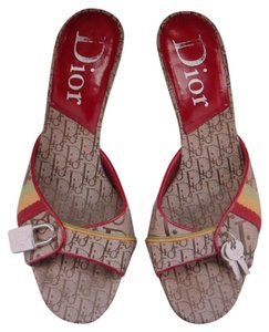 Christian Dior Dark Tan with Red piping Sandals