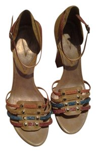Vince Camuto Color Teal Blue Leather multi colors mustard, orange teal-blue, dark tan Pumps