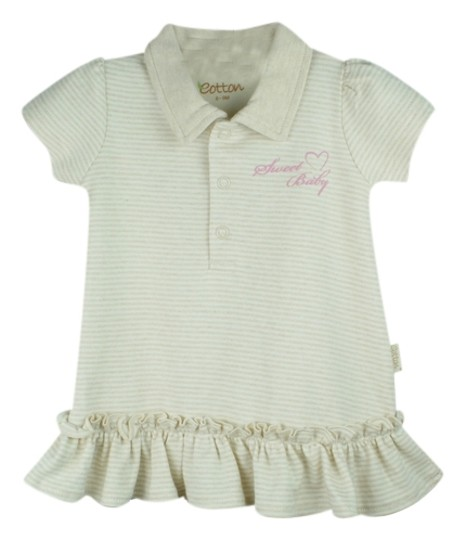 Eotton Certified Organic Cotton Shirt Dress w/ Ruffles and Bottoms- large (9-12 month)