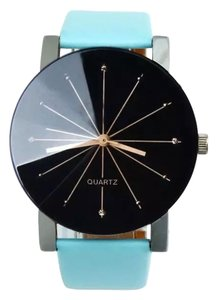 Other New Quartz Wrist Watch Black Face Blue Band J1216