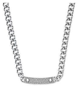 Michael Kors NWT MICHAEL KORS Silver Reversible Pave&Logo Plaque Toggle Necklace MKJ3618040