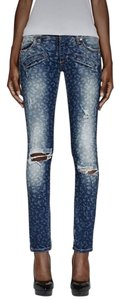 Balmain Leopard Print Denim Distressed Shredded Biker Moto Skinny Jeans