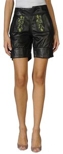 Cynthia Rowley Florals Applique Embroidered Embellished Leather Very Soft Bermuda Shorts Black