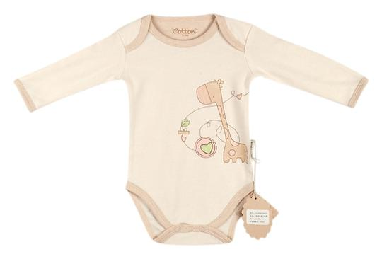 Eotton Certified Organic Cotton Baby Bodysuit w/ Long Sleeves - Giraffe - xSmall (0-3 Months)