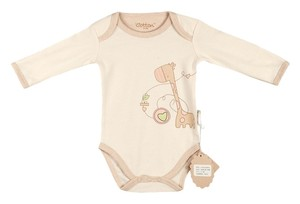 Eotton Certified Organic Cotton Baby Bodysuit w/ Long Sleeves - Giraffe - Large (9-12 Months)