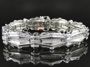 Mens Pave Set 14k White Gold Finish Round Cut Genuine Diamond Bracelet 1.35 Ct
