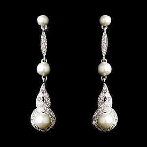 Elegance By Carbonneau Pearl And Cz Wedding Earrings