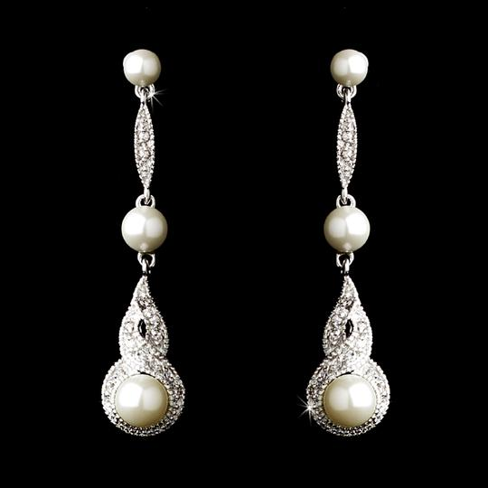 Elegance by Carbonneau Silver Pearl and Cz Earrings