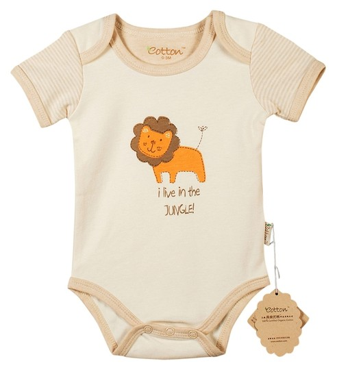Eotton Certified Organic Cotton Baby Bodysuit w/ Short Sleeves - Small (3-6 Months)