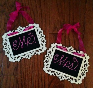 Handmade Mr And Mrs Bride And Groom Chalkboard Chair Signs