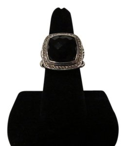 David Yurman David Yurman Albion Collection - 14mm Almandite Garnet and Pave' Diamond Sterling Silver Ring ; Size 7