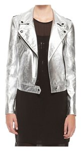 DKNY Leather Patent Leather Motorcycle Jacket
