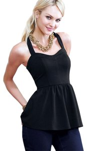 Victoria's Secret Victoria Peplum Tank Top Black