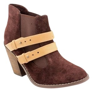 Kelsi Dagger Suede Leather Bootie Deep Chocolate Brown Boots