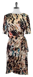 Rachel Roy Multi Color Print Silk Wrap Dress