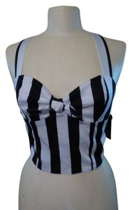 P J K Top Black & White Stripe