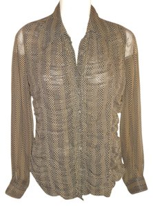 BCBGMAXAZRIA Blouse Shirt Sheer Long Sleeve Button Down Shirt black & tan
