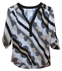 New York & Company Top Black/White/Tan