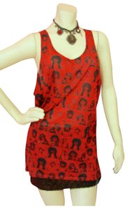 Betsey Johnson Black Photobooth Top Red