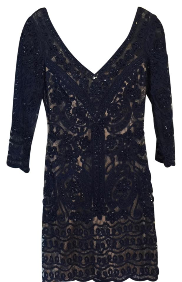 Sue Wong Navy Blue Tail Dress