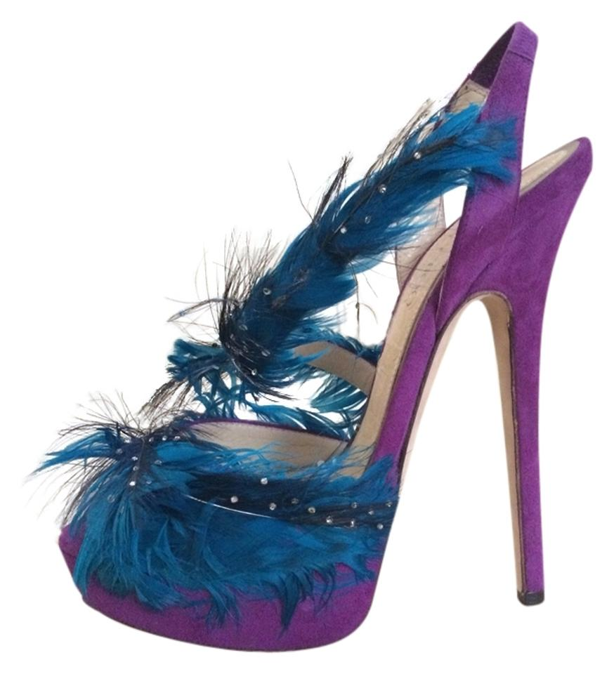 96e068ecb300 Jimmy Choo Marlene Limited Edition Luxury Celebrity Feather Runway Platform  Heels Purple Pumps Image 0 ...