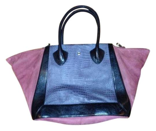 Pour La Victoire Leather Suede Tote in Burgundy and Stone Colorblock