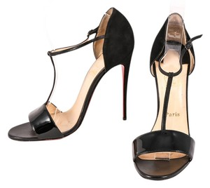 Christian Louboutin Patent Leather Suede Stiletto Black Pumps