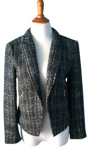 Zara Blue Boucle Gold Thread Blazer Blue/green boucle Jacket