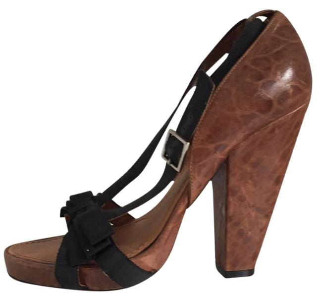 Item - Brown Pebbled Leather and Ribbon Sandals Platforms Size US 7.5 Regular (M, B)