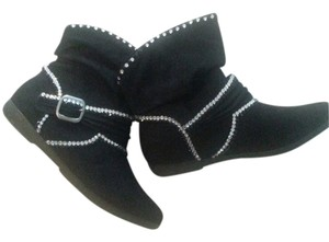 Arizona Suede Crystal Cute Slouch Black Boots