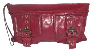 Kooba Leather Red Maroon Clutch